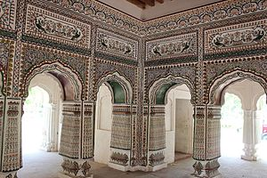 Gujranwala - The interior of the Sheranwala Baradari is elaborately decorated.