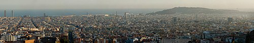 Barcelona panorama from Parc Guell - Jan 2007.jpg