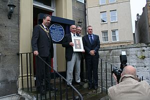 John Barlow (veterinary scientist) - The unveiling of a Blue Plaque in 2015 in memory of Professor Barlow on his former home at No 1 Pilrig Street, Edinburgh, in the presence of the Lord Provost, The Rt Hon Donald Wilson, Professor Brendan Corcoran from the Royal (Dick) School of Veterinary Studies, University of Edinburgh, together with Professor Barlow's 2 great Grandchildren, Antony and Nicholas Barlow.