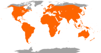 Worldwide distribution of bat species