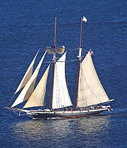 A two-masted schooner