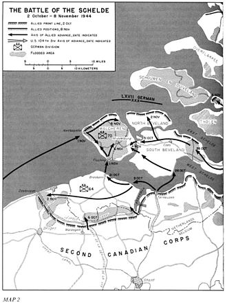 Operation Infatuate - Map of fighting on and near Walcheren in October and November 1944
