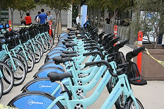 Transportation in the San Francisco Bay Area - A bike share station in San Jose, California.