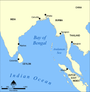 Action of 31 May 1809 - Image: Bay of Bengal map 1800s