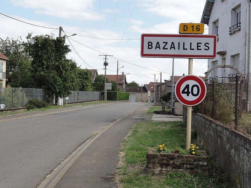 Bazailles (Meurthe-et-M.) city limit sign