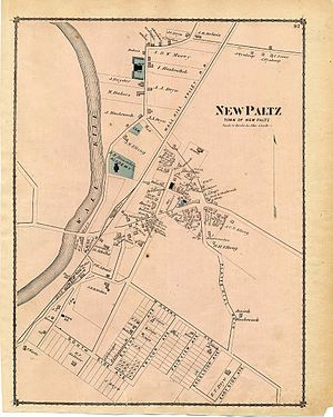 New Paltz (village), New York - An 1875 map of the town of New Paltz; the village was created in the central portion