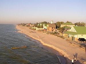 Taganrog Bay - The coast of the bay, with Bilosarayska Spit.