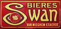 Bières Swan, van Mieghem-Exaerde, Revêtements JOSZ - Sté Ame Koekelberg-Bruxelles, old metal advertising sign.JPG