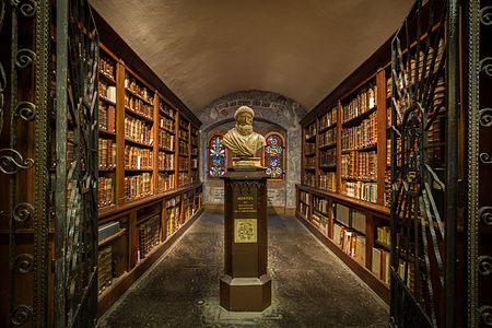 Sélestat library, with statue of Jean Mentel, printer and publisher (1410-1478).