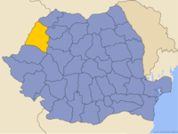 Administrative map of Romania with Bihor county highlighted