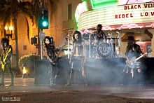 "Behind the scenes shots of Black Veil Brides shooting their music video for ""Rebel Love Song""."
