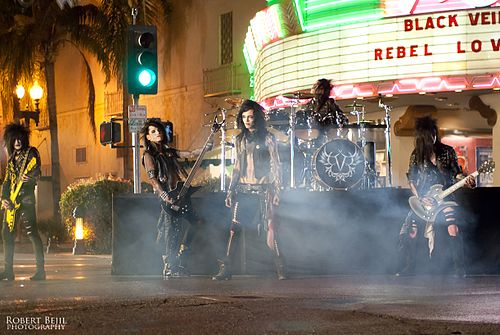 Glam metal band Black Veil Brides filming a music video for their song Rebel Love Song Black Veil Brides BVB.jpg