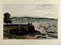 Boats at Melloon, Burma. Coloured aquatint by William Daniel Wellcome V0050502.jpg