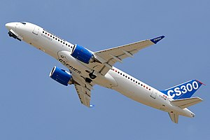 Bombardier CSeries - CSeries CS300 prototype with the gear almost retracted