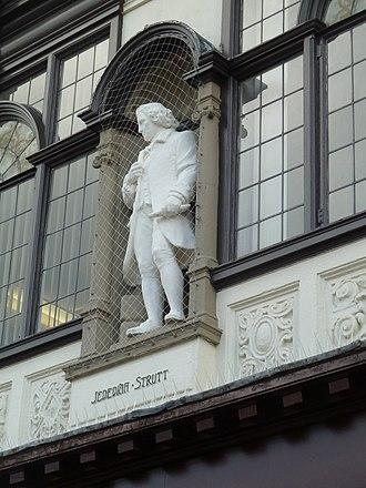 Jedediah Strutt - Statue of Jedediah Strutt on the Boots building, East Street, Derby