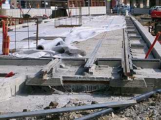 Ground-level power supply - Track with APS under construction in Place Paul Doumer, Bordeaux