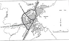 A map of the proposed highway put forth in the 1948 Massachusetts Highway Master Plan.