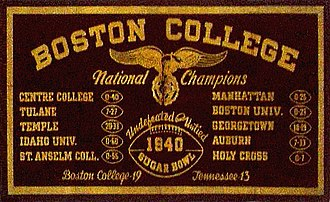 Boston College Eagles football - 1940 banner