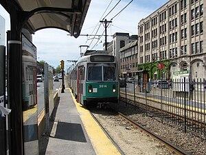Boston University West (MBTA station) - An inbound train at Boston University West