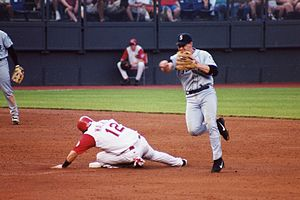 Bret Boone - Boone turning a double play while playing second base for the Seattle Mariners in Cincinnati on June 19, 2002