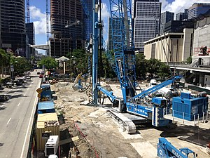 Brickell Flatiron - Construction site of the Brickell Flatiron in June 2016