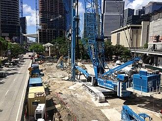 Brickell Flatiron - Construction site of the Brickell Flatiron in June 2016