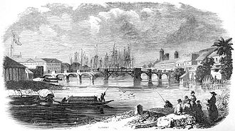 Binondo - Bridge of Binondoc in Manila, early 19th century. Original caption: Pont de Binondoc à Manille. From Aventures d'un Gentilhomme Breton aux iles Philippines (1855) by Paul de la Gironière.