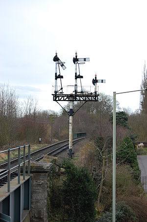 Severn Valley Railway - Down Home Signals for Bridgnorth, cleared for a train to enter Platform 1. These are all lower quadrant semaphores of GWR origin.