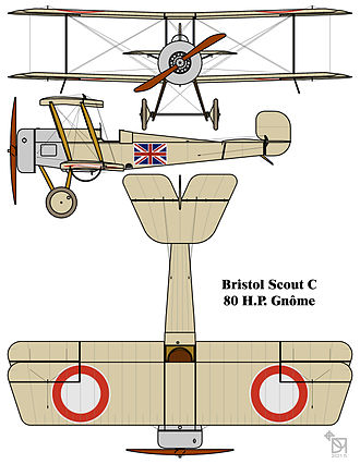 Royal Air Force roundels - RNAS Bristol Scout C, with 1914/15-style red-ring style wing roundels