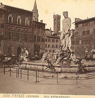 Fountain of Neptune, Florence - Image: Brogi, Giacomo (1822 1881) n. 3056 Firenze Fontana dell'Ammannati 2