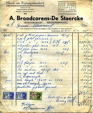 Invoice from Broodcorens A. -De Staercke to Bl...