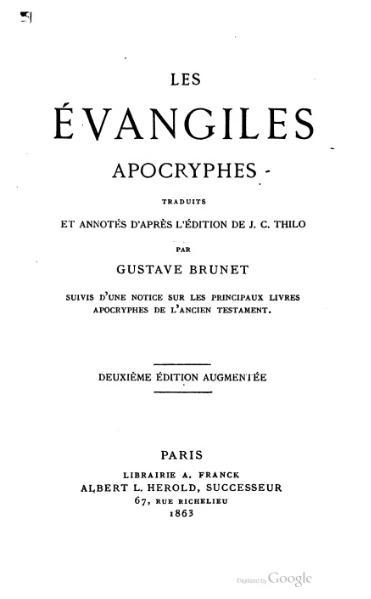 File:Brunet - Evangiles Apocryphes, 1863.djvu