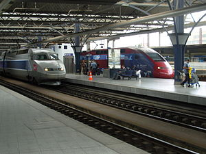 High-speed rail in Belgium - TGV and Thalys share a platform at Brussels-South Station