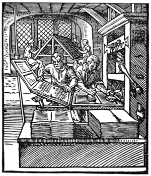 Printer's devil - Printing press, circa 1568