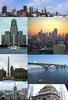 Clockwise: Buffalo skyline from I-190 North entering downtown, Buffalo skyline at dusk, Peace Bridge, Buffalo Savings Bank, Erie County hall, Niagara Sqaure, and the art deco Buffalo City Hall
