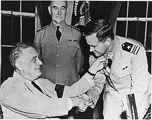 John D. Bulkeley - Lieutenant Commander Bulkeley being awarded the Medal of Honor from President Roosevelt