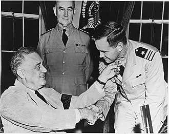 John D. Bulkeley - Lieutenant Commander Bulkeley being awarded the Medal of Honor from President Roosevelt