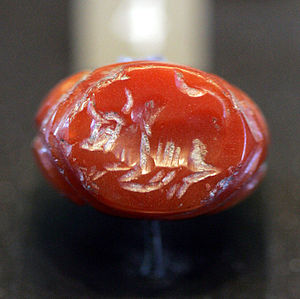 Seal of the Sassanid era. Cornaline-(gemstone ...