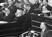 Walter Hallstein sitting with Konrad Adenauer in the Bundestag; Karl Mommer speaking