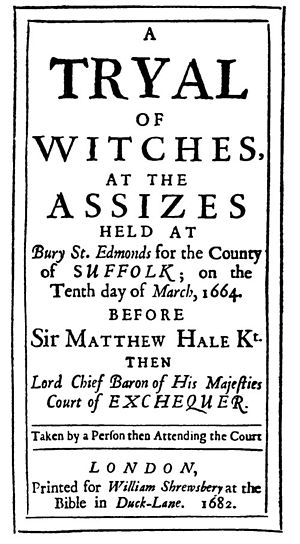 Bury St Edmunds witch trials - Title page of report of the 1662 Trial, incorrectly dated as 1664.