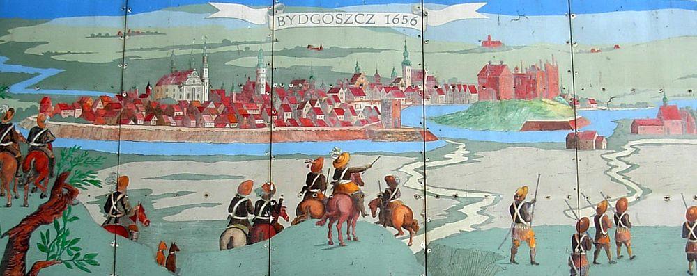 Polski: Panorama miasta Bydgoszczy i ruin zamku – wyobrażenie na podstawie grafiki Erika Dahlberga z 1657 roku