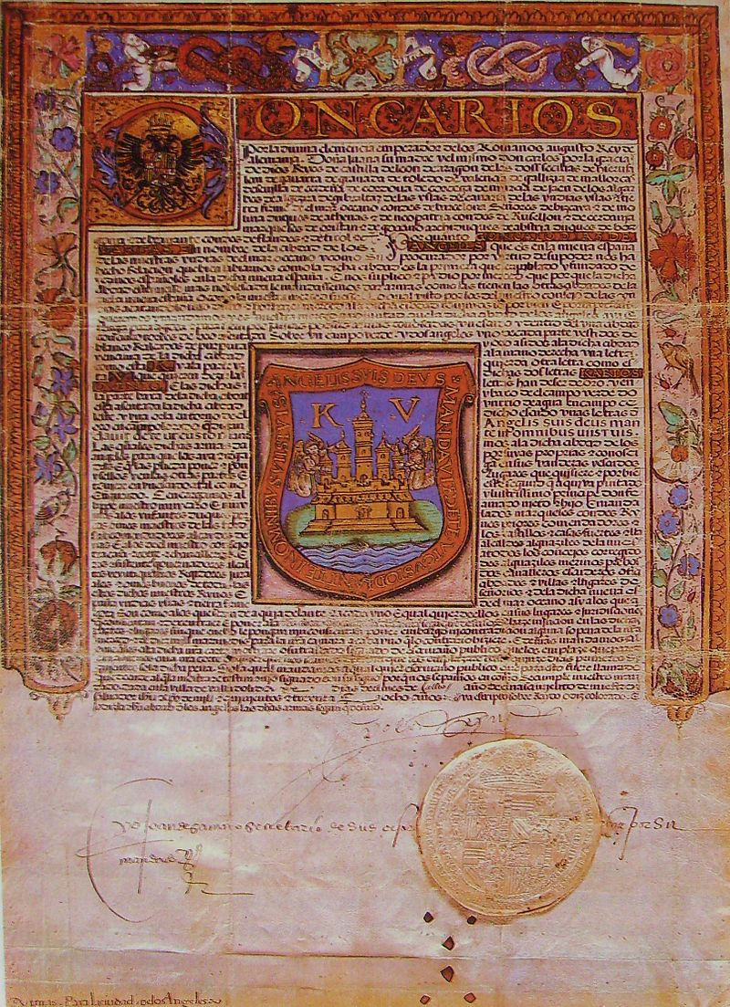 Cédula Real de Puebla, con su escudo de armas