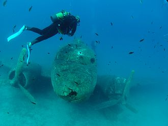 Kaş - Artificial wreck of a Douglas DC-3, one of about 50 dive spots in the vicinity of Kaş