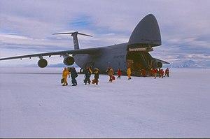 Ice Runway - C-5 Galaxy unloading at sea ice runway, near McMurdo Station, 1999.