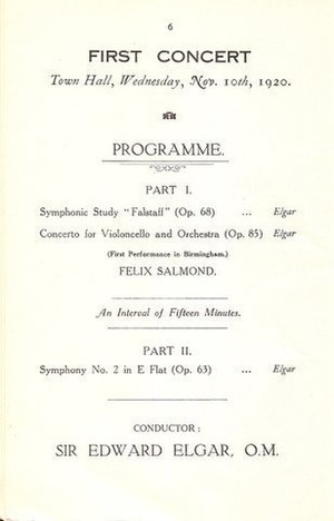Felix Salmond - Programme for the CBSO's first formal concert, on 10 November 1920, with Salmond as the soloist an Elgar conducting