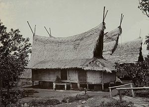 Sundanese people - Traditional Sundanese house with Julang Ngapak roof in Papandak, Garut.
