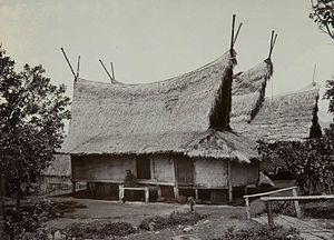 Sundanese people - Traditional Sundanese house with Julang Ngapak roof in Papandak, Garut.