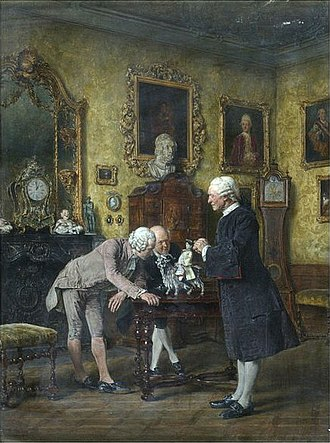 Heinrich von Brühl - Count Brühl's Goat by Carl Seiler depicting Brühl showing off his extravagant Meissen porcelain. Victoria and Albert Museum