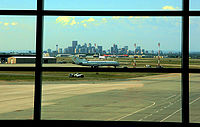 View of downtown Calgary from airport