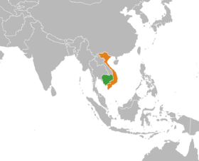 Situation du Cambodge (en vert) et du Viêt Nam (en orange).